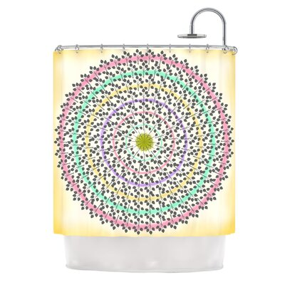 Leafy Watercolor Mandala by Famenxt Pastels Abstract Shower Curtain