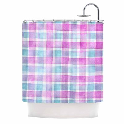 Watercolour Checked Tartan Sin by Michelle Drew Plaid Shower Curtain