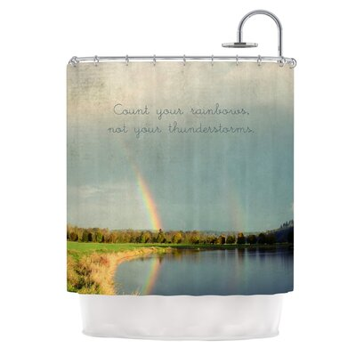 Count Rainbows by Robin Dickinson Nature Typography Shower Curtain