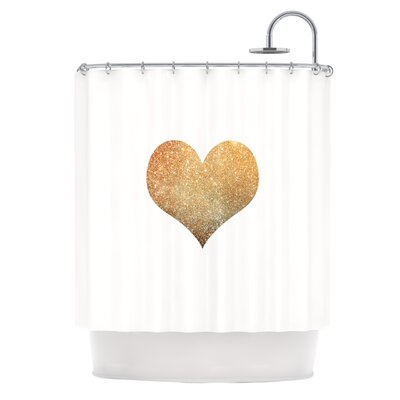 Gold Heart by Suzanne Carter Glam Shower Curtain
