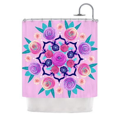 Expressive Blooms Mandala by Anneline Sophia Floral Shower Curtain