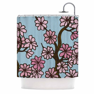 Cherry Blossom Day by Art Love Passion Floral Illustration Shower Curtain Color: Blue/ Pink