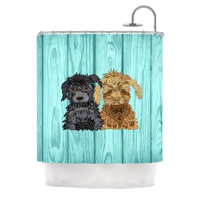 Daisy and Gatsby by Art Love Passion Abstract Puppies Shower Curtain