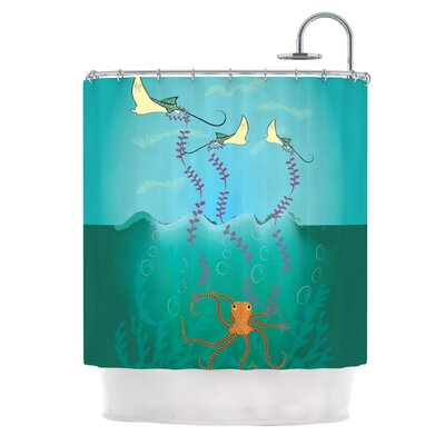 Octopus Flying Manta Rays by Famenxt Shower Curtain