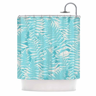 Fun Fern by Jacqueline Milton Shower Curtain Color: Blue/Aqua