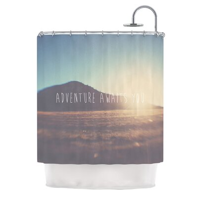 Adventure Awaits You by Laura Evans Coastal Typography Shower Curtain