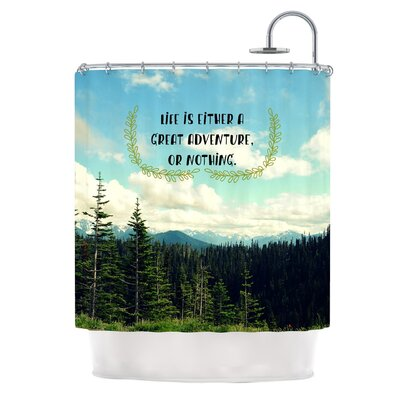 Life Is... by Robin Dickinson Landscape Typography Shower Curtain