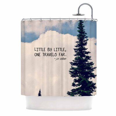 Little By Little by Robin Dickinson Clouds Typography Shower Curtain