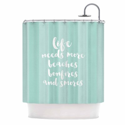 Beaches & Bonfires by Sylvia Cook Typography Shower Curtain