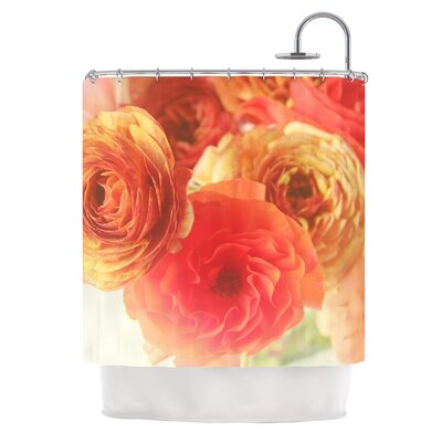 Coral Ranunculus by Debbra Obertanec Floral Shower Curtain