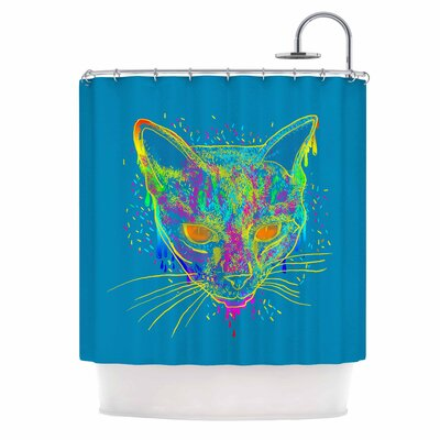 Candy Cat by Frederic Levy-Hadida Shower Curtain Color: Blue/ Rainbow
