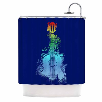 Nature Tune by Frederic Levy-Hadida Music Shower Curtain Color: Blue/ Rainbow