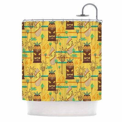 Surfing Tiki by Jane Smith Shower Curtain