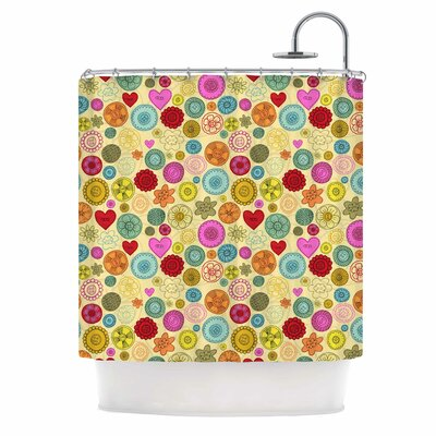Vintage Buttons by Jane Smith Polkadot Shower Curtain