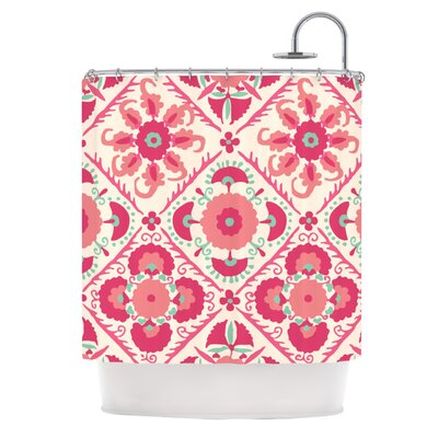 Bukhara Coral by Laura Nicholson Floral Shower Curtain