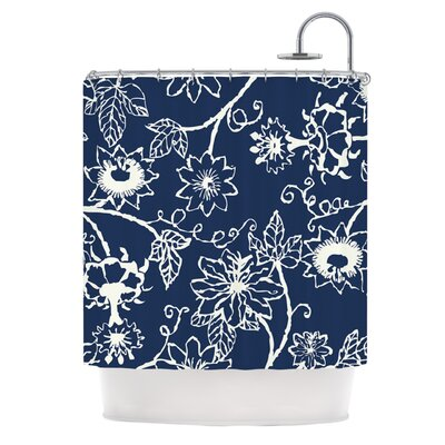 Passion Flower by Laura Nicholson Floral Shower Curtain