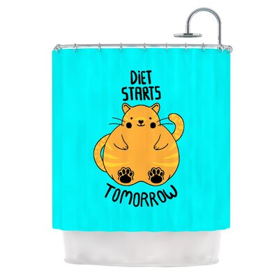 Diet Starts Tomorrow by Tobe Fonseca Cat Shower Curtain
