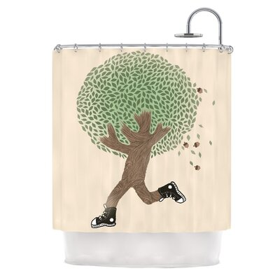 Run For Your Life by Tobe Fonseca Tree Illustration Shower Curtain