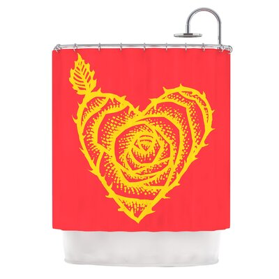 I Love Roses by BarmalisiRTB Heart Thorns Shower Curtain