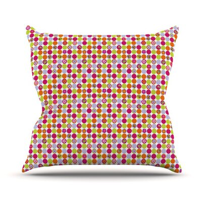 Happy Circles Outdoor Throw Pillow