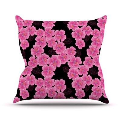 Pink on Black Outdoor Throw Pillow