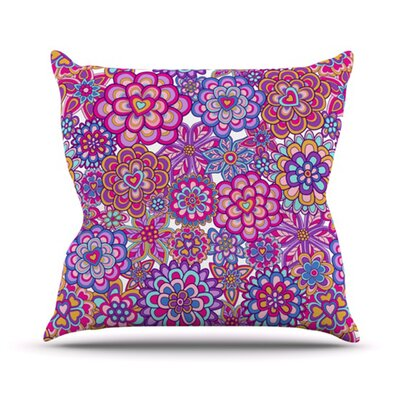 My Happy Flowers Outdoor Throw Pillow