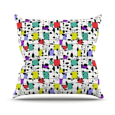 My Happy Squares Outdoor Throw Pillow