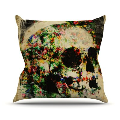 Floral Skully Outdoor Throw Pillow