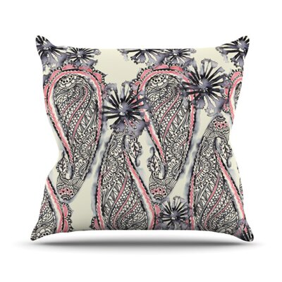 Inky Paisley Bloom Outdoor Throw Pillow