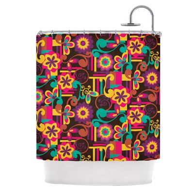 Arabesque Floral by Louise Machado Bright Colorful Shower Curtain