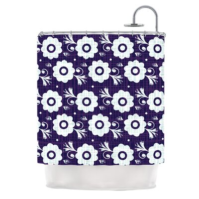 Navy Flower by Louise Machado Shower Curtain