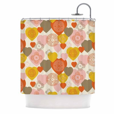Retro Hearts by Maike Thoma Shower Curtain