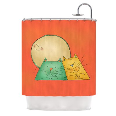 2 Gatos Romance by Carina Povarchik Love Cats Shower Curtain