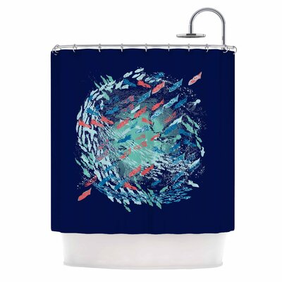 Underwater Life by Frederic Levy-Hadida Fish Shower Curtain Color: Blue