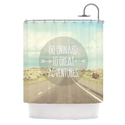 Go Onward to Great Adventures by Jillian Audrey Typography Shower Curtain