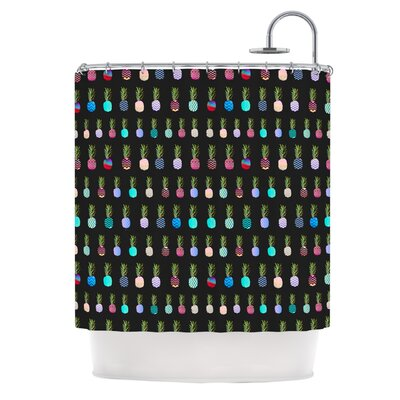 Pineapple People by Monika Strigel Shower Curtain Color: Black