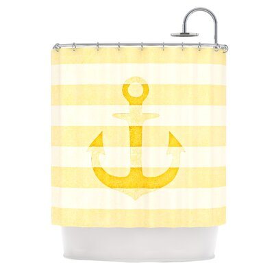 Stone Vintage Anchor by Monika Strigel Shower Curtain Color: Mustard/White