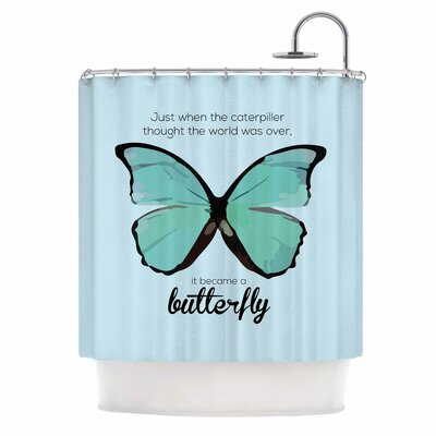 Butterfly by NL Designs Quote Shower Curtain