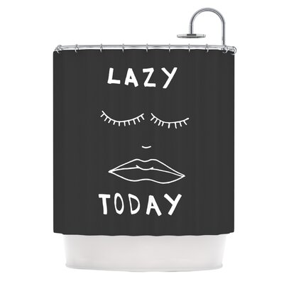 Lazy Today by Vasare Nar Typography Shower Curtain