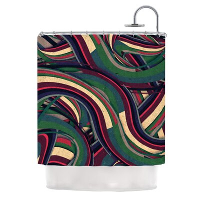 Swirl Madness by Danny Ivan Dark Geometric Shower Curtain