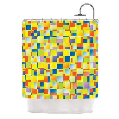 Multi Color Blocking by Dawid Roc Geometric Shower Curtain