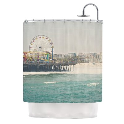 The Pier at Santa Monica by Laura Evans Coastal Shower Curtain