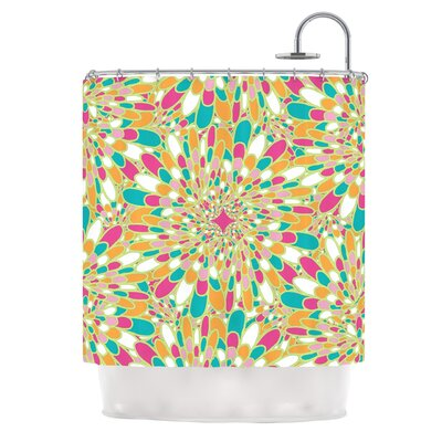 Flourishing by Miranda Mol Shower Curtain Color: Pink/ Orange