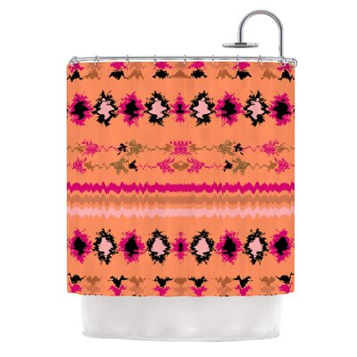 Nava by Nina May Tribal Shower Curtain Color: Peachy