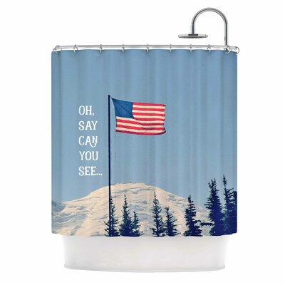 Oh Say Can You See by Robin Dickinson Flag Typography Shower Curtain