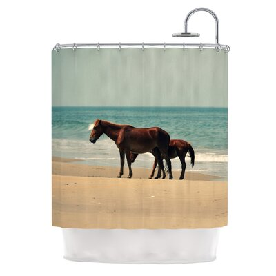 Sandy Toes by Robin Dickinson Beach Horses Shower Curtain