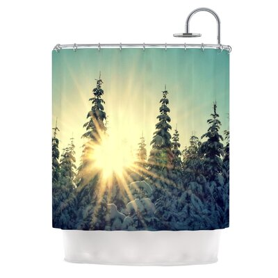 Shine Bright by Robin Dickinson Snowy Trees Shower Curtain