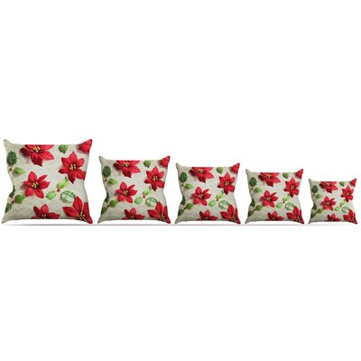 Poinsettia Throw Pillow Size: 20