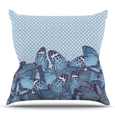 Butterfly Throw Pillow Size: 26 H x 26 W x 5 D, Color: Blue