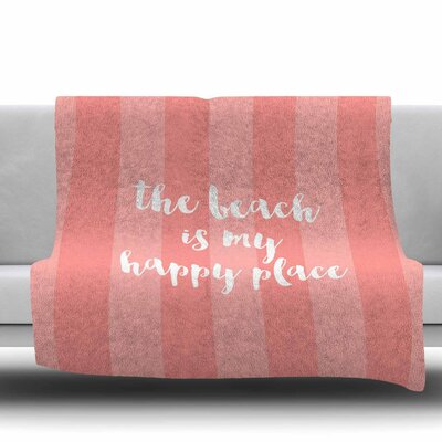 Beach is My Happy Place Fleece Throw Blanket Color: Coral, Size: 60 L x 50 W